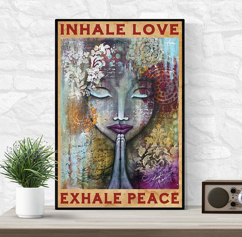Yoga girl inhale love exhale peace poster