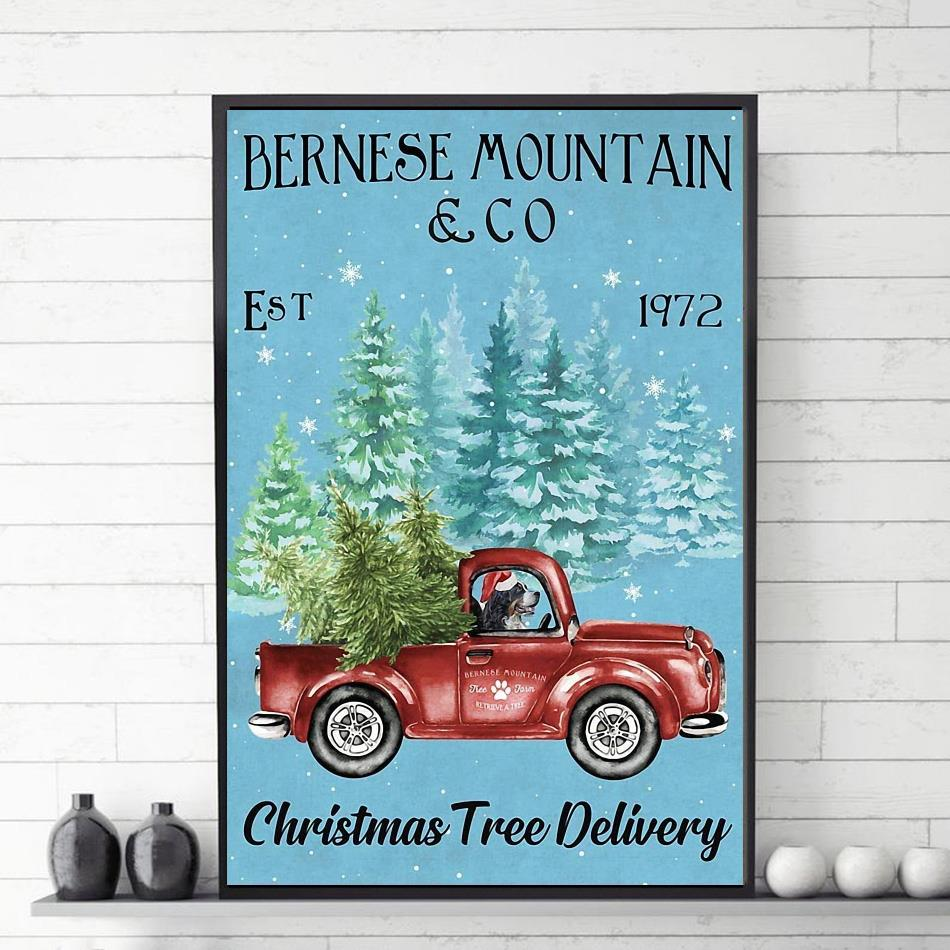 Bernese Mountain christmas tree delivery poster