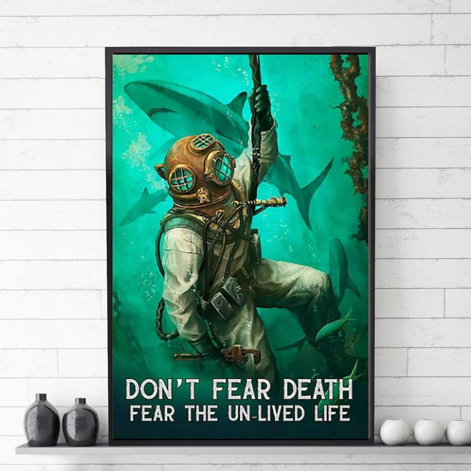 Ocean Shark don't fear death fear the unlived life poster