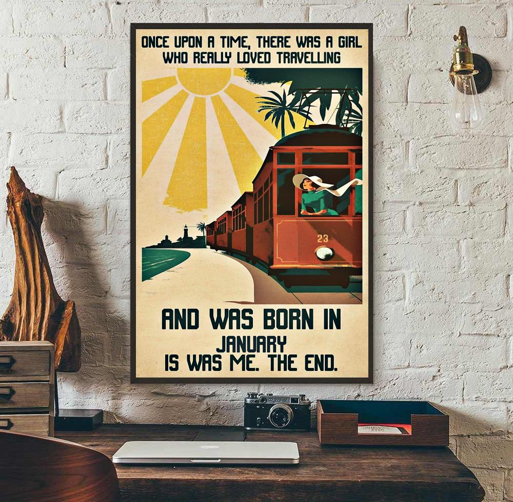 A girl really loved travelling and was born in January poster wall art