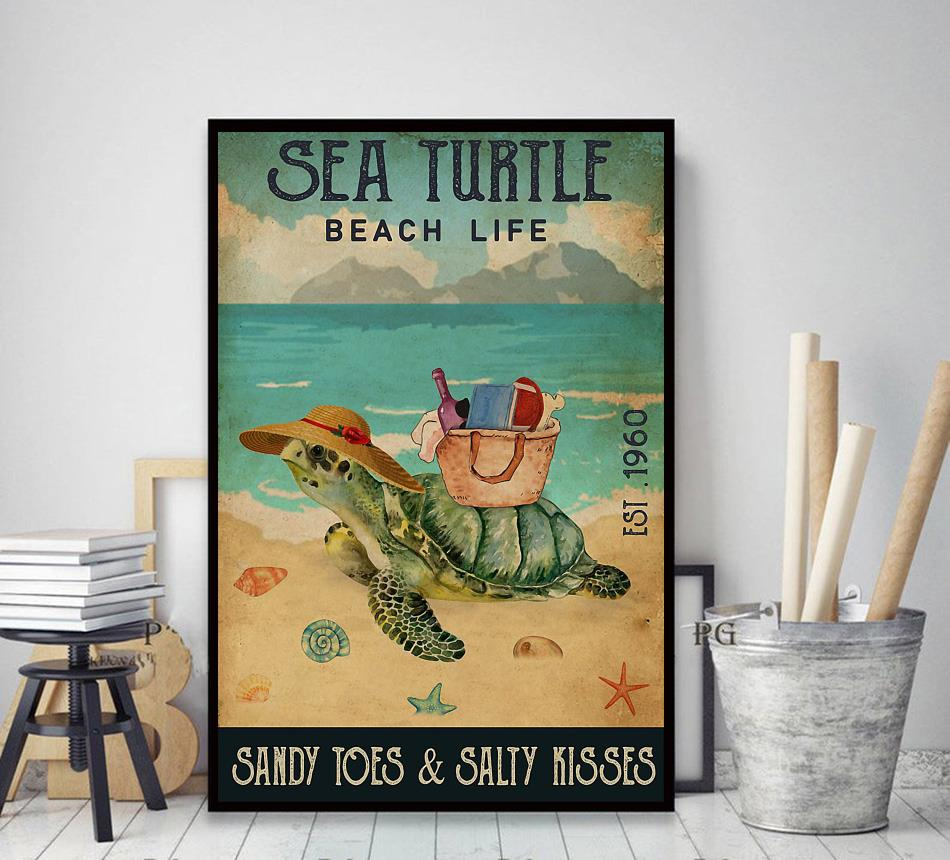 Sea Turtle beach life sandy toes and salty kisses poster decor art