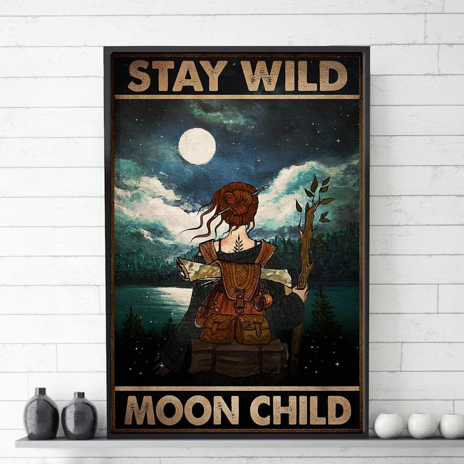 Wander hiking girl stay wild moon child poster vetical poster