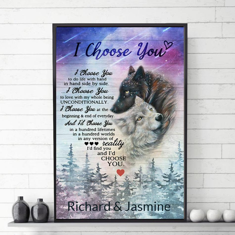 Wolf couple I choose you poster canvas