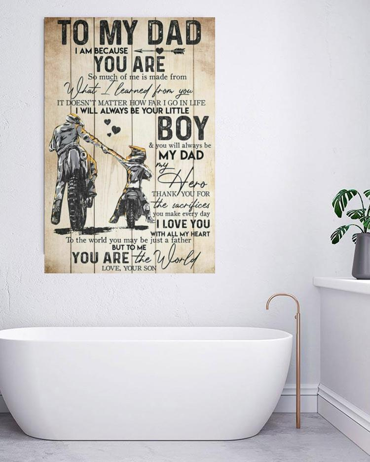 To my dad motorbike father and son motivation quotes poster canvas bathroom