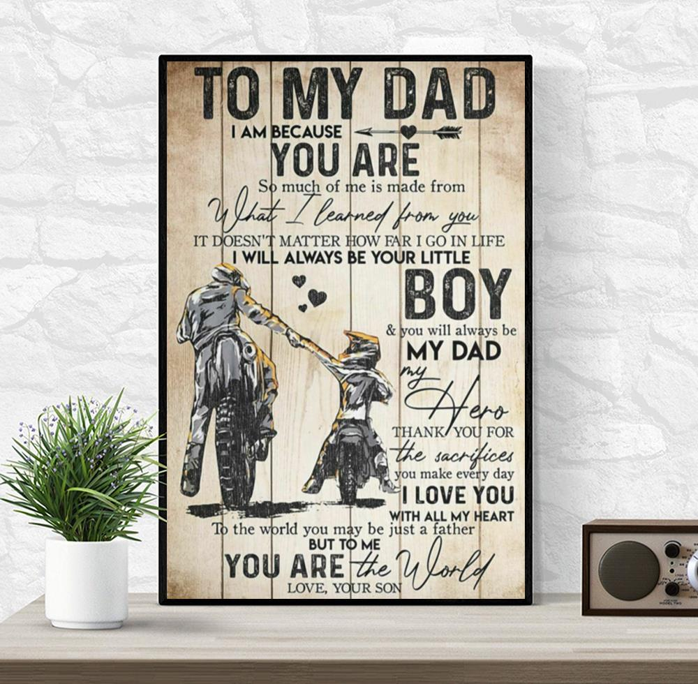 To my dad motorbike father and son motivation quotes poster canvas