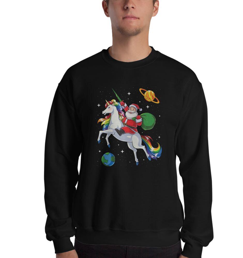 Santa riding Unicorn in space Christmas shirt