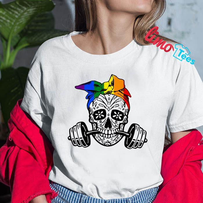 Sugar skull weight lifting LGBT shirt