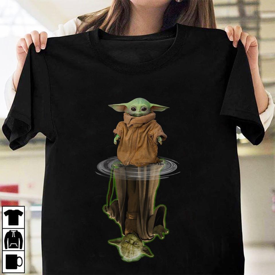 Mandalorian Baby Yoda Star Wars water reflection unisex t-shirt
