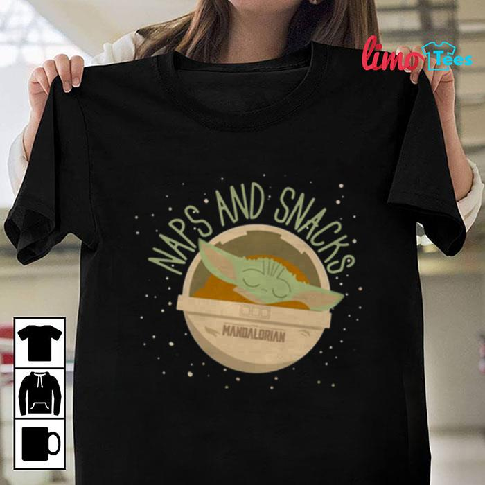 The Mandalorian Baby Yoda naps and snacks t-shirt