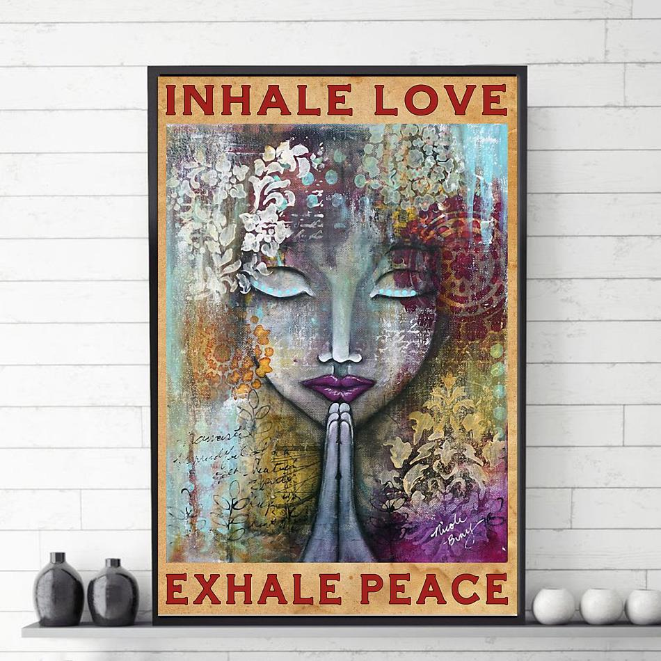 Yoga girl inhale love exhale peace poster vetical poster