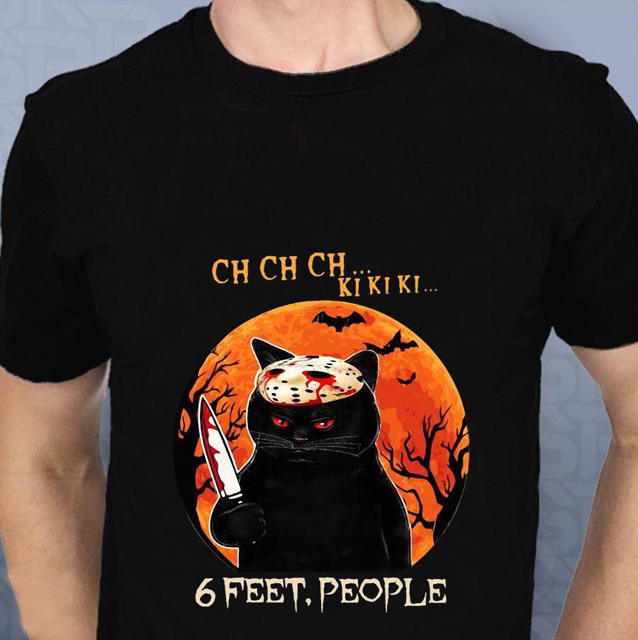 Black cat 6 feet people Halloween t-shirt