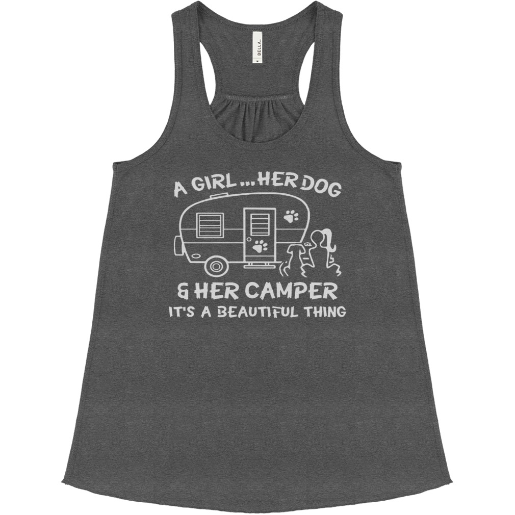 A girl her dog and her camper bella flowy tank
