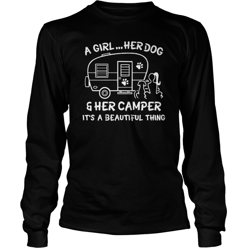 A girl her dog and her camper longsleeve