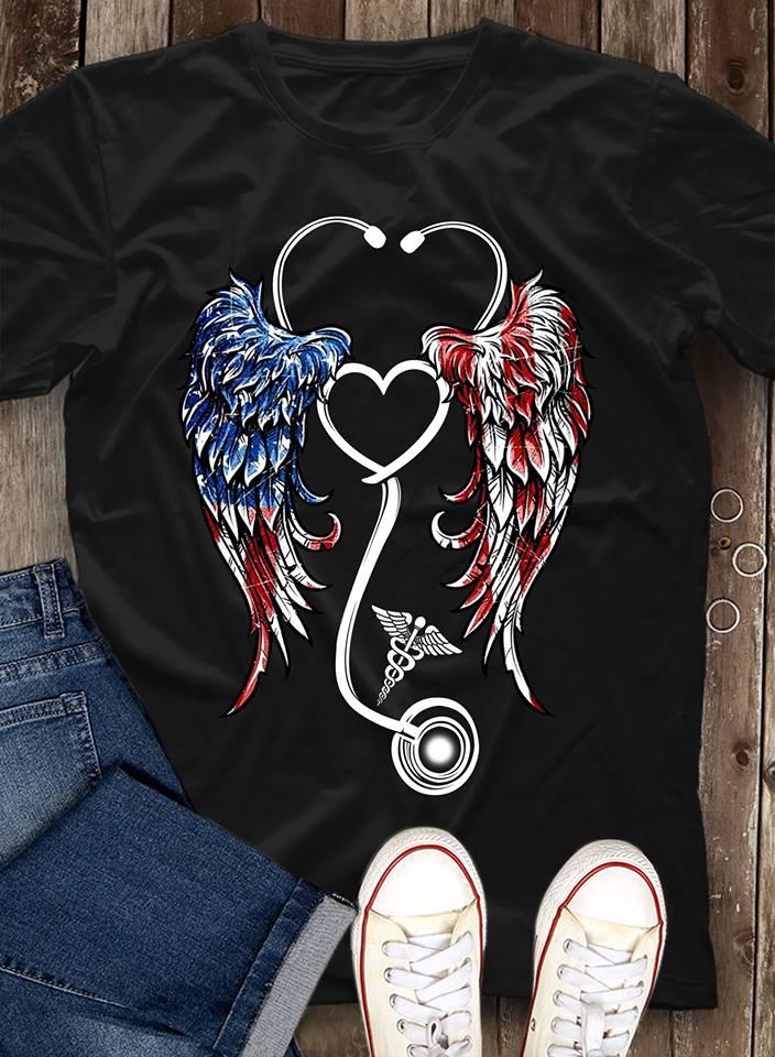 40197df78 Nurse Angel Wings American Flag shirt, Ladies shirt, Hoodie and Tank Top