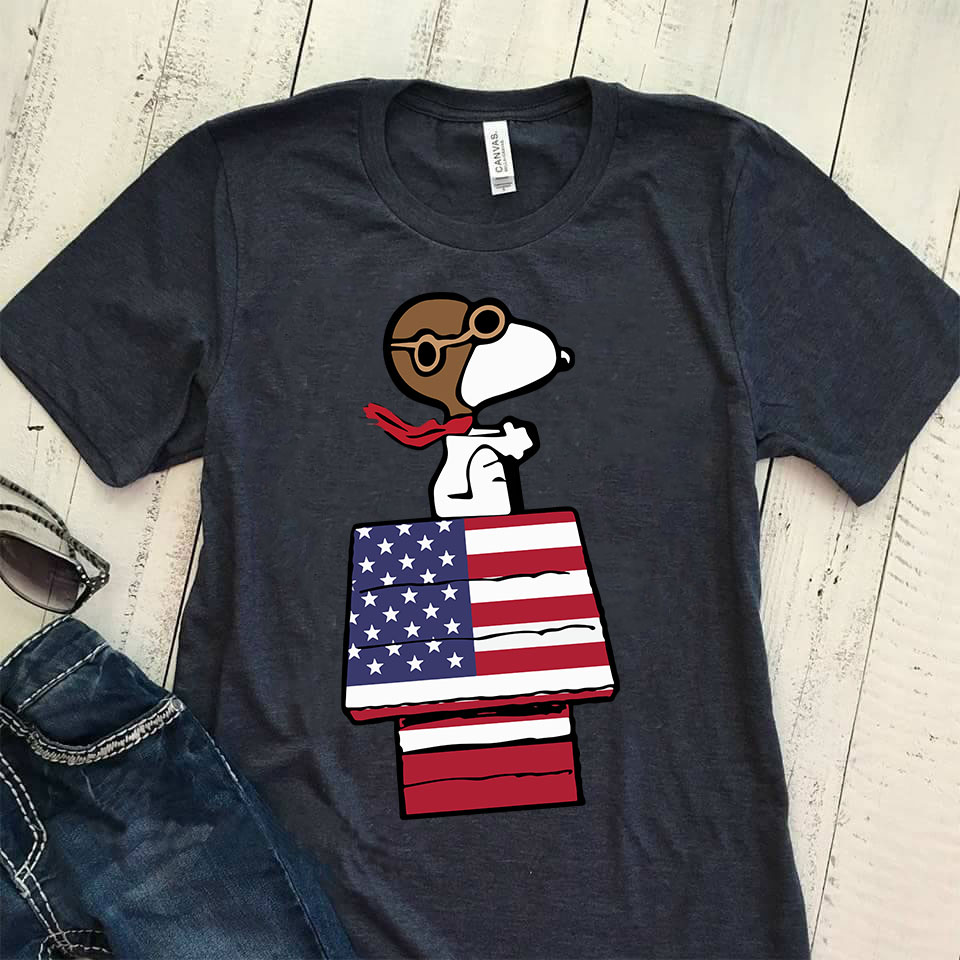 Snoopy is flying US Flag House shirt
