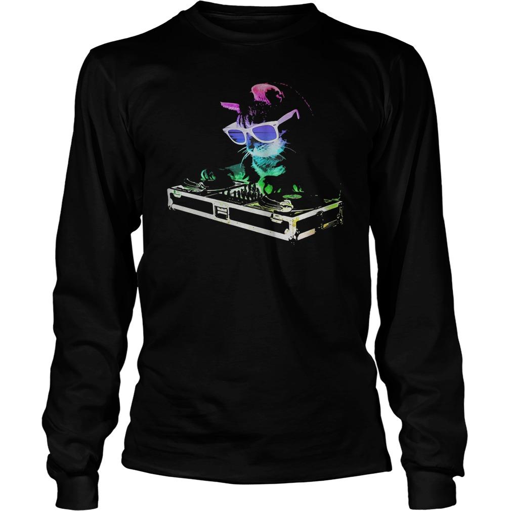 Rainbow DJ Kitty house cat shirt
