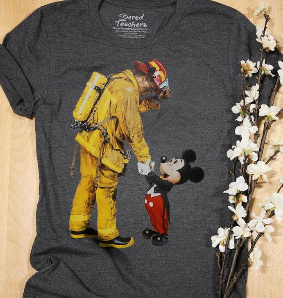 Firefighter With Mickey Mouse Shirt Hoodie Tank Top And Sweater