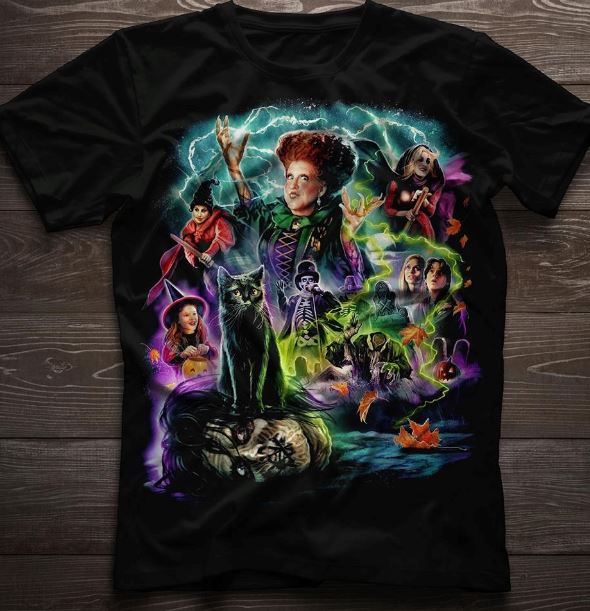 The Sanderson Sisters with new Hocus Pocus shirt