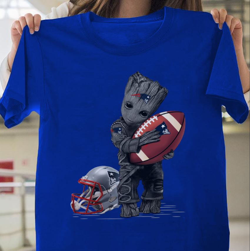 Baby Groot hugs New England Patriots guys shirt