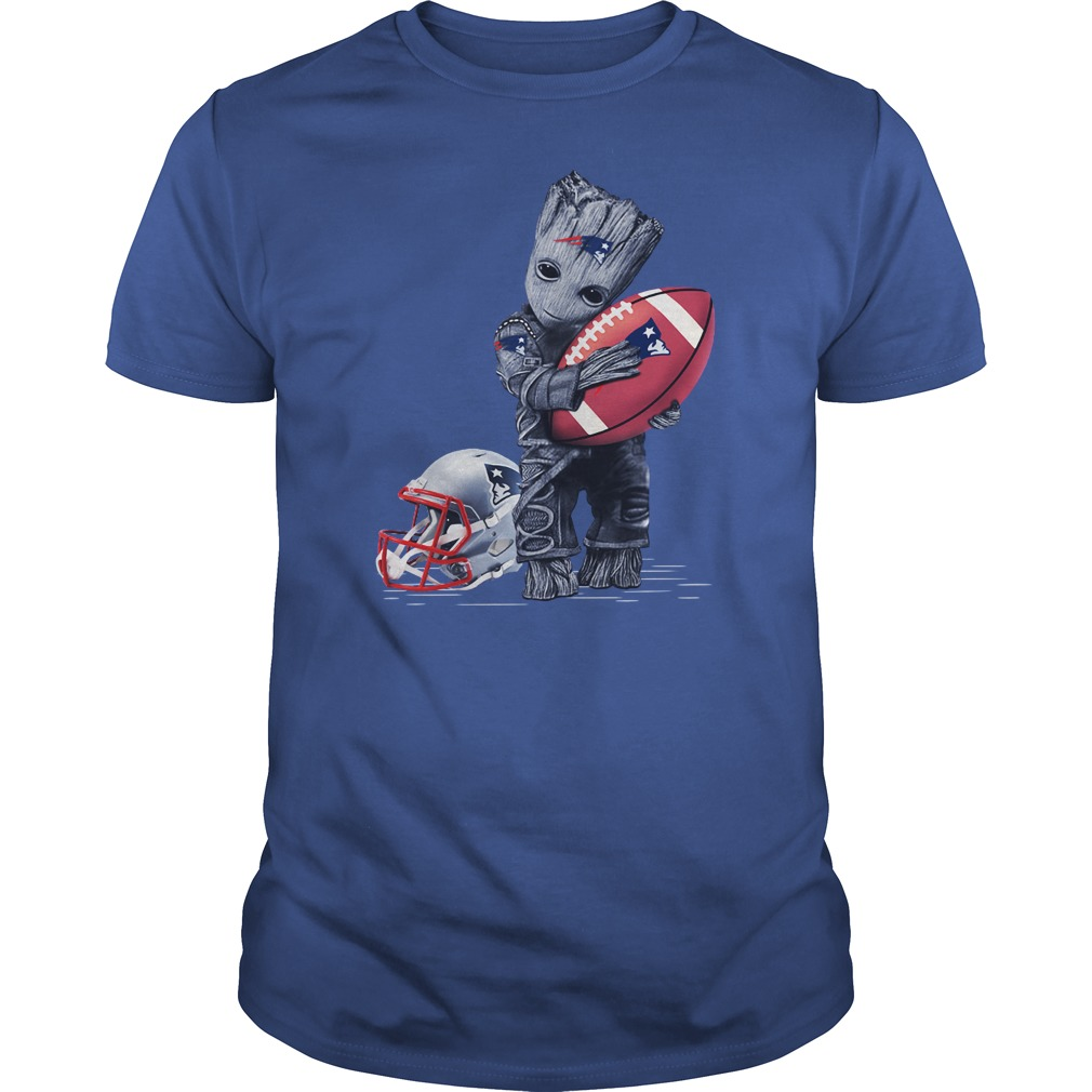 Baby Groot hugs New England Patriots shirt
