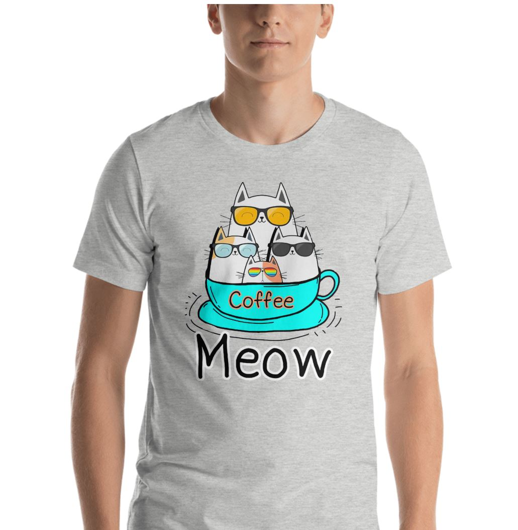 Cat coffee meow shirt