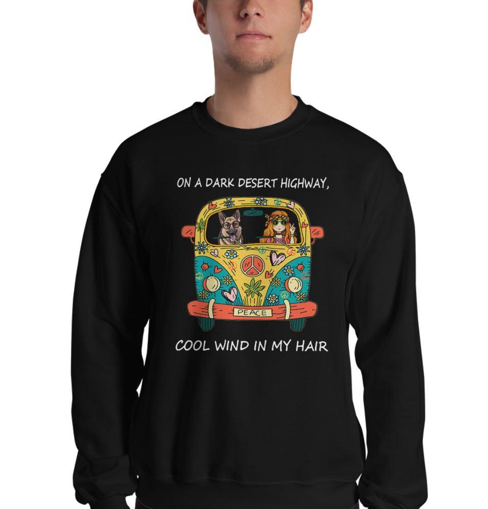 German Shepherd on the dark desert highway cool wind in my hair Hippie car shirt