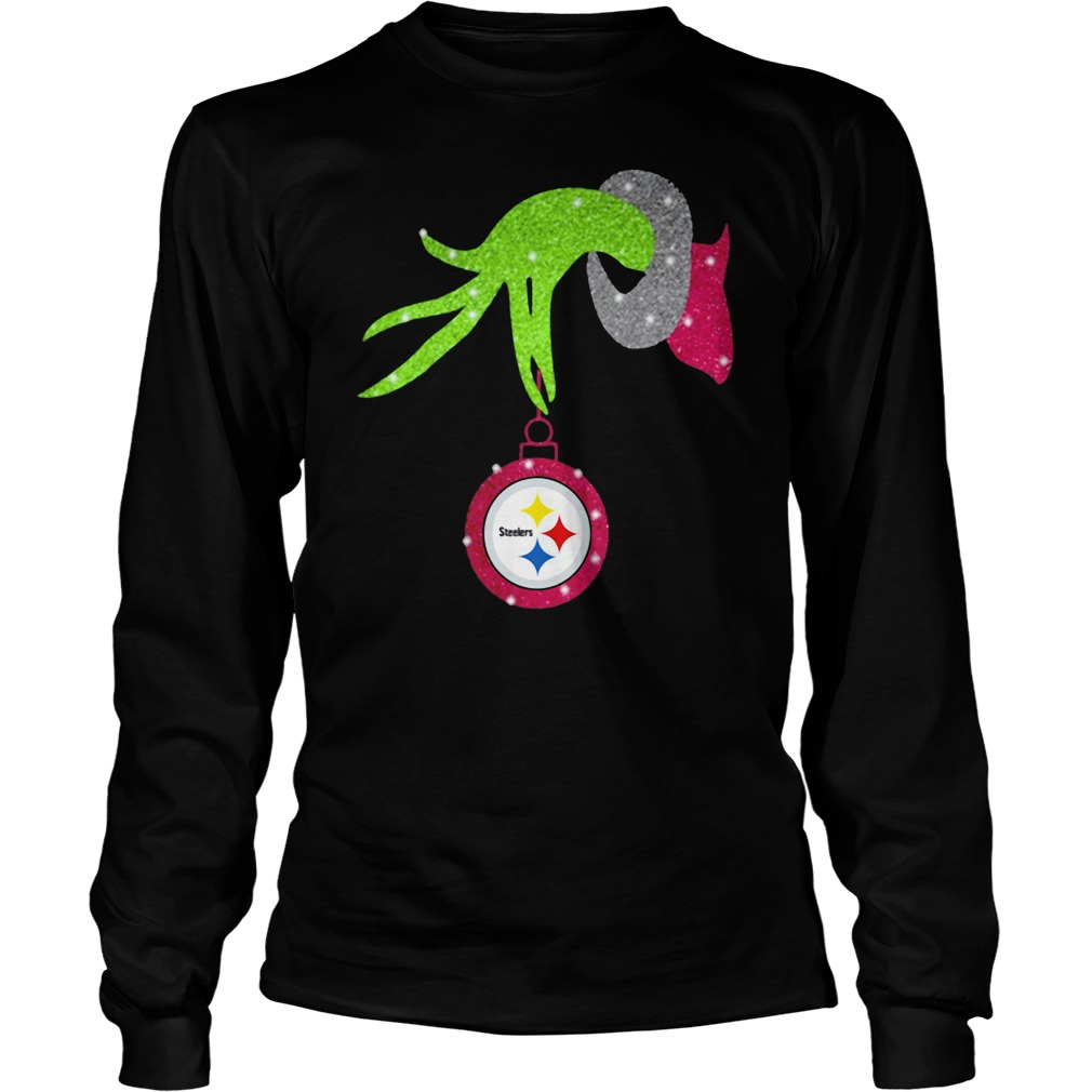 Grinch hand holding Pittsburgh Steelers ornament shirt