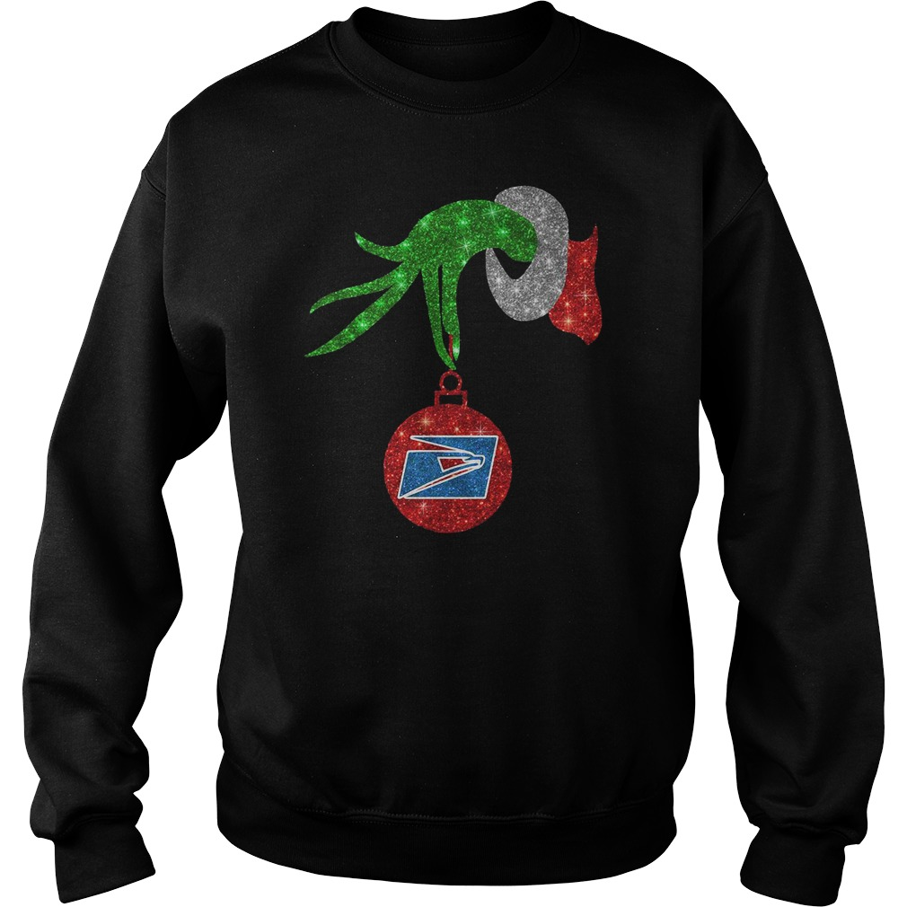 Grinch hand holding US postal service ornament shirt