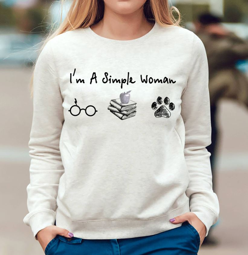 I'm a simple woman who love Harry Potter book and dog shirt