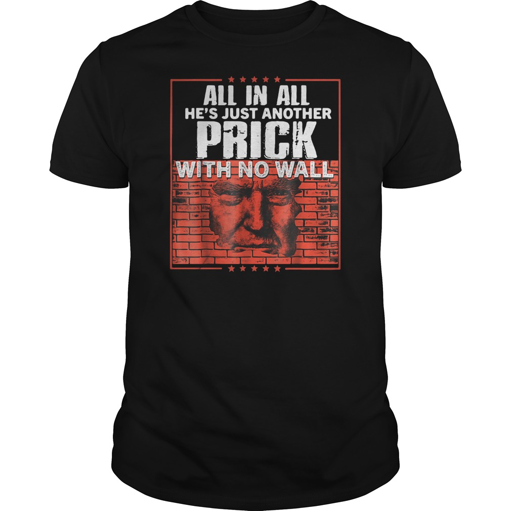 Donald Trump all in all he's just another prick with no wall shirt