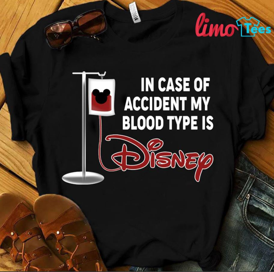 In case of accident my blood type is Mickey Disney shirt