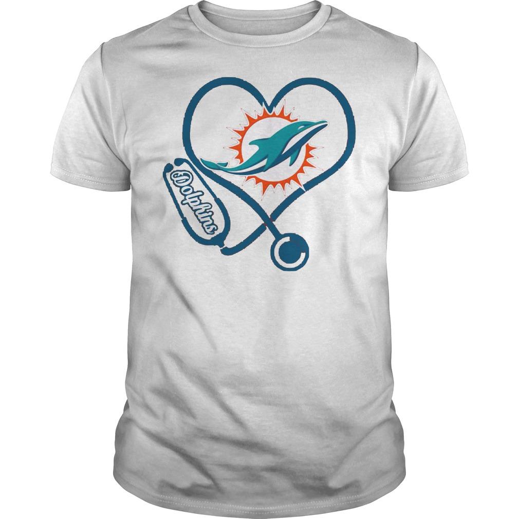 Nurse Miami Dolphins heart shirt