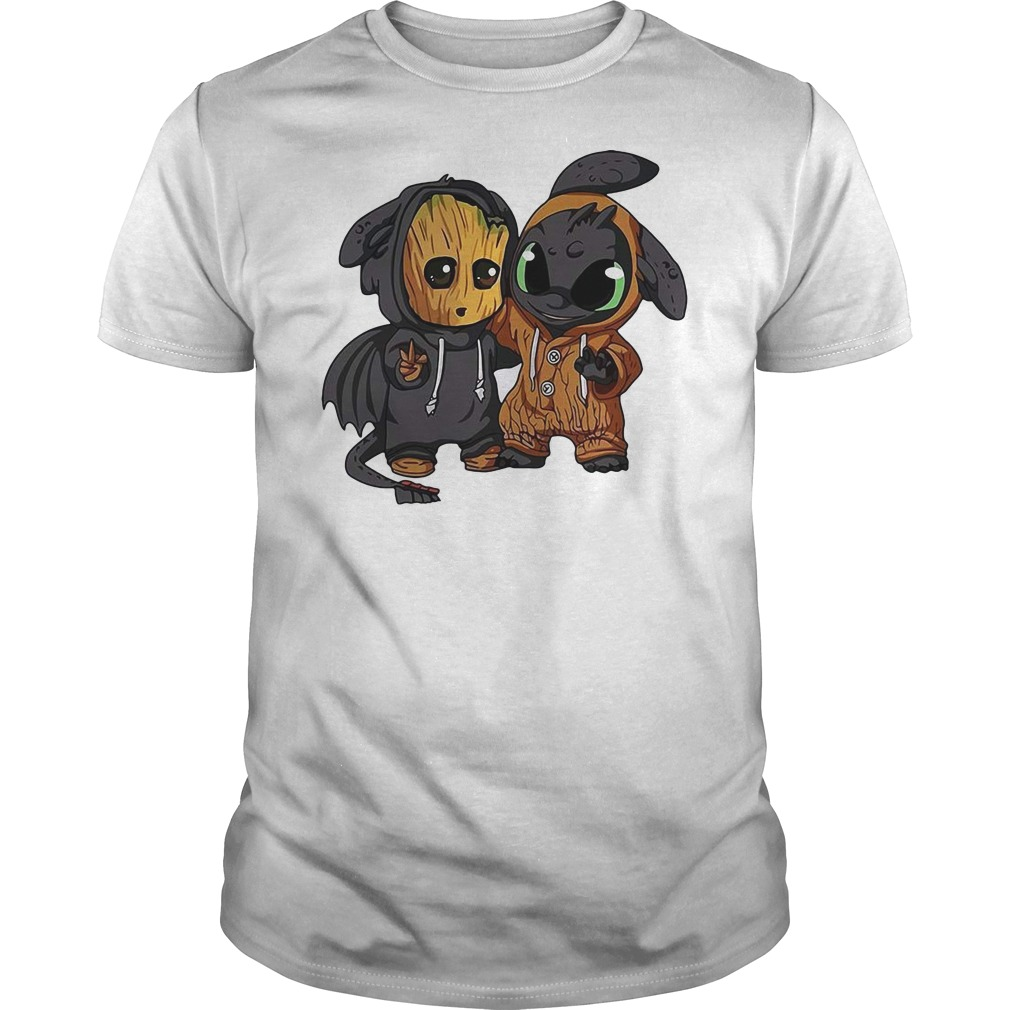 Baby Groot and Toothless costume shirt
