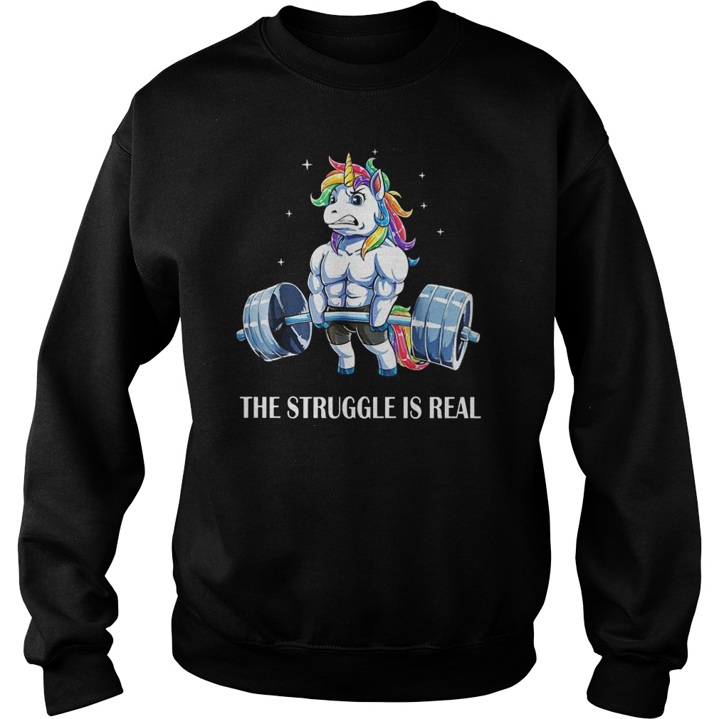 Unicorn gym man the struggle is real shirt