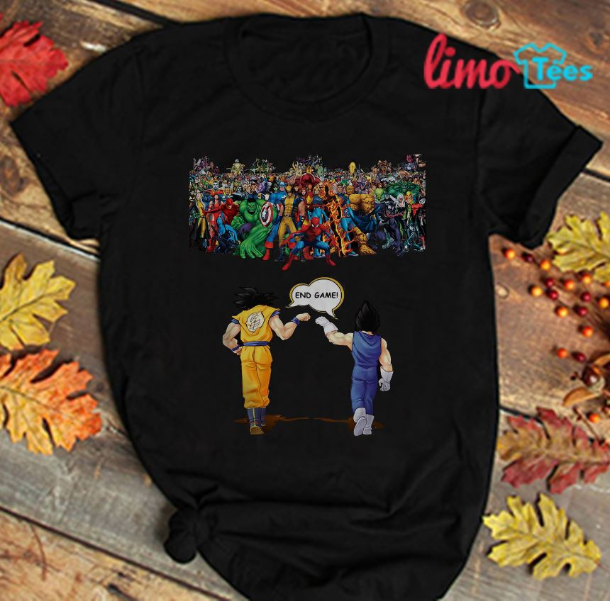 4abcb55c8 Vegeta Goku end game vs Marvel Avengers t-shirt, guys t-shirt ...