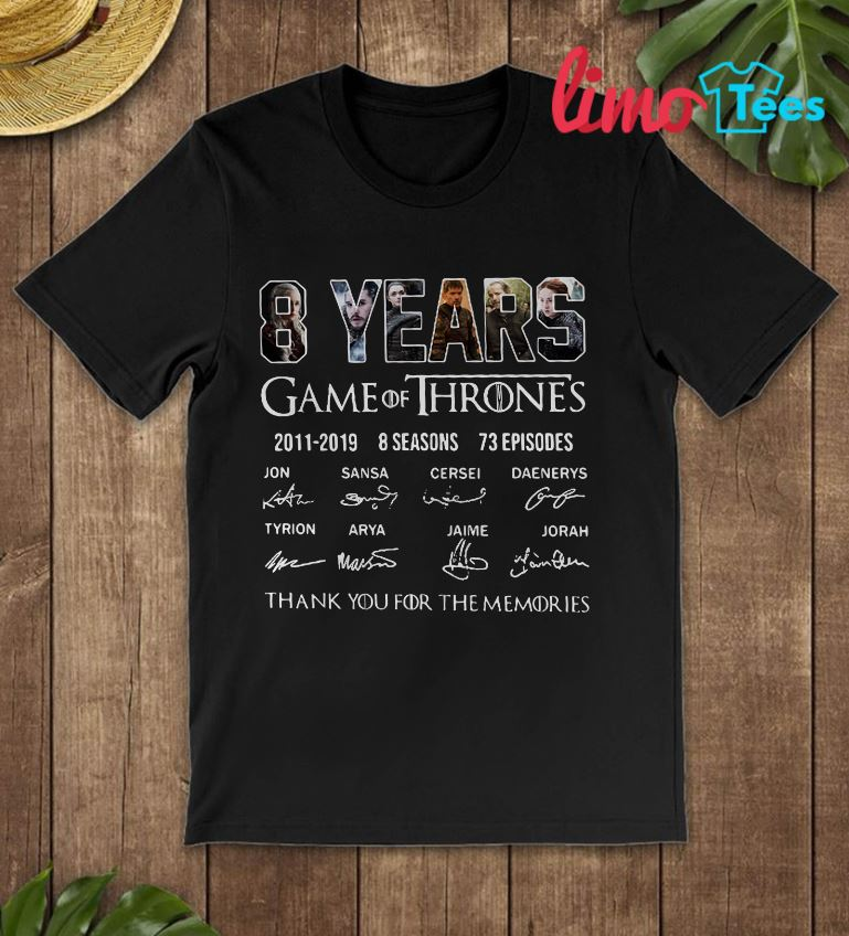 8 years Game Of Thrones thank you for memories shirt