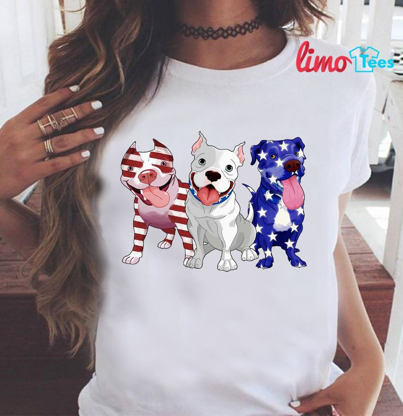 Three Pitbulls American flag t-shirt