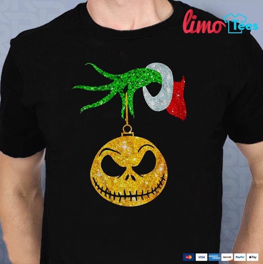 Grinch holding Jack Skellington ornament shirt