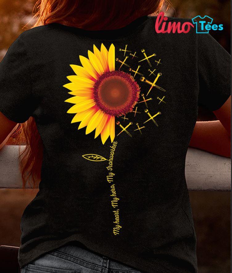 Sunflower my heart my hero my Ironworkers shirt