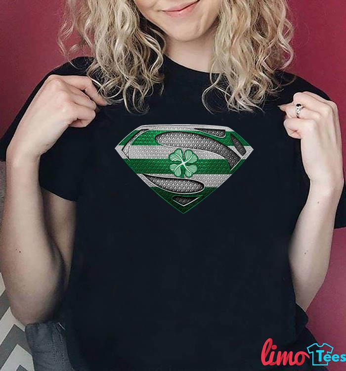 Superman four leaf shamrock Celtic shirt