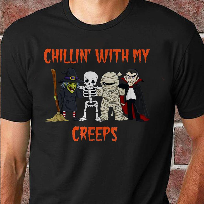 Dracula chillin with my creeps halloween unisex shirt
