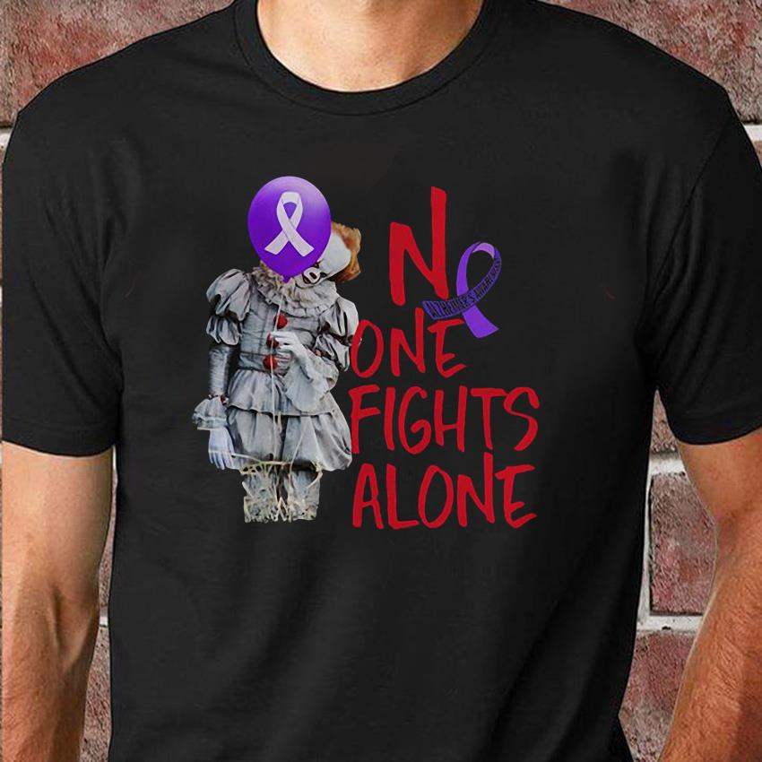 No one fights alone Pennywise alzheimer awareness unisex t-shirt