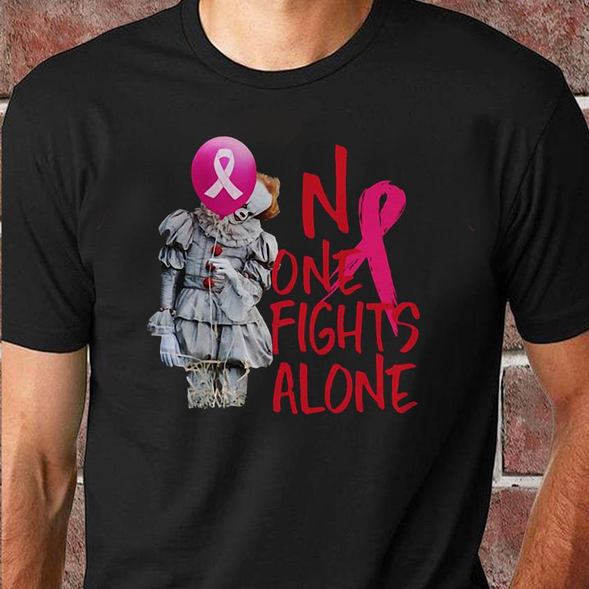 No one fights alone Pennywise breast cancer unisex shirt