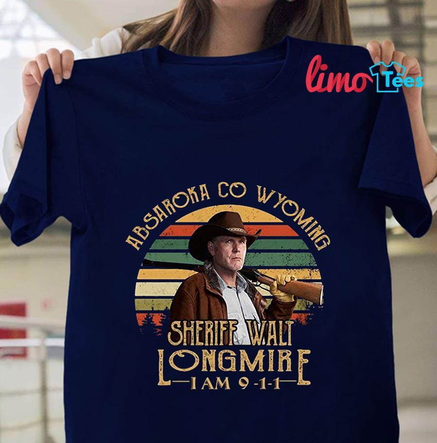 Absaroka Co Wyoming Sheriff Walt Longmire vintage t-s navy unisex