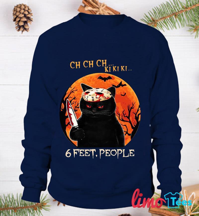 Black cat 6 feet people Halloween t-s sweatshirt