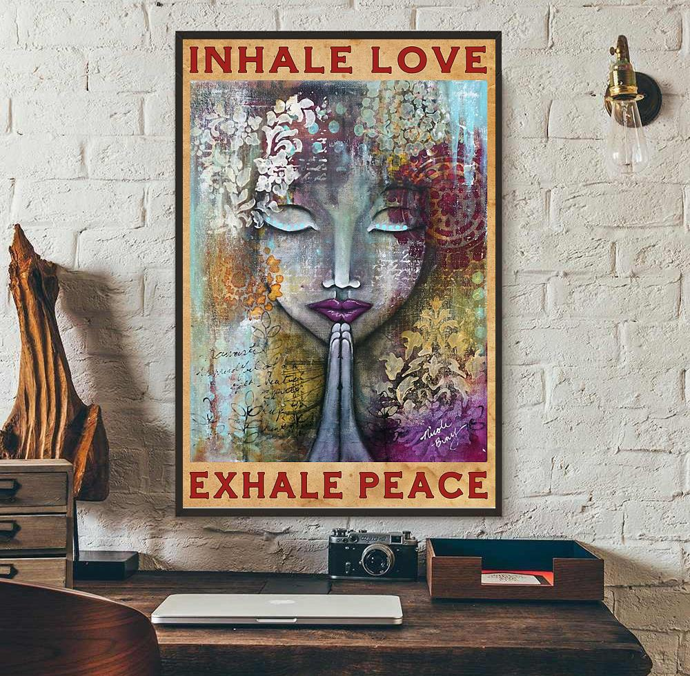 Yoga girl inhale love exhale peace poster wall art