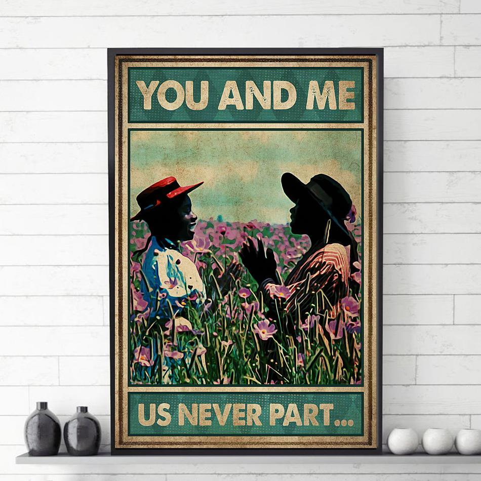 Afro girl on flower field you and me us never part canvas