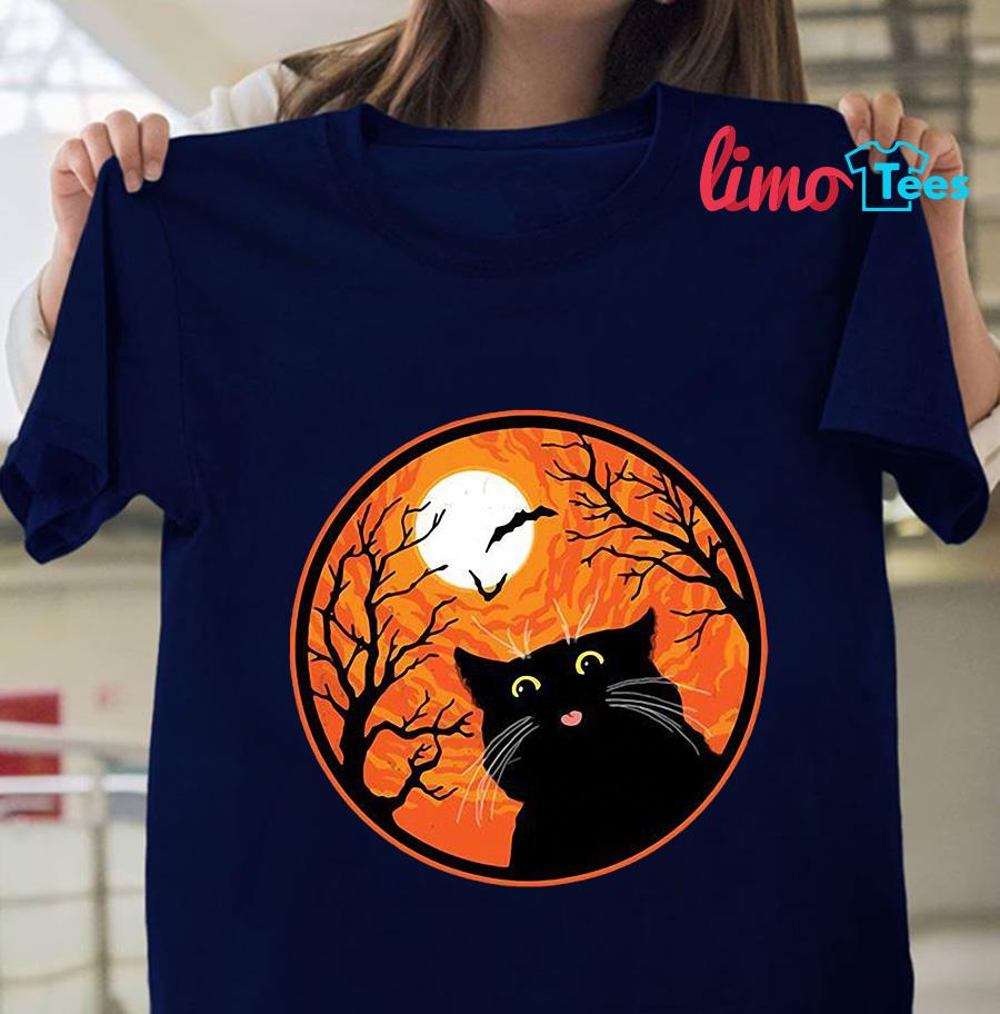 Black Cat blood moon Halloween t-shirt