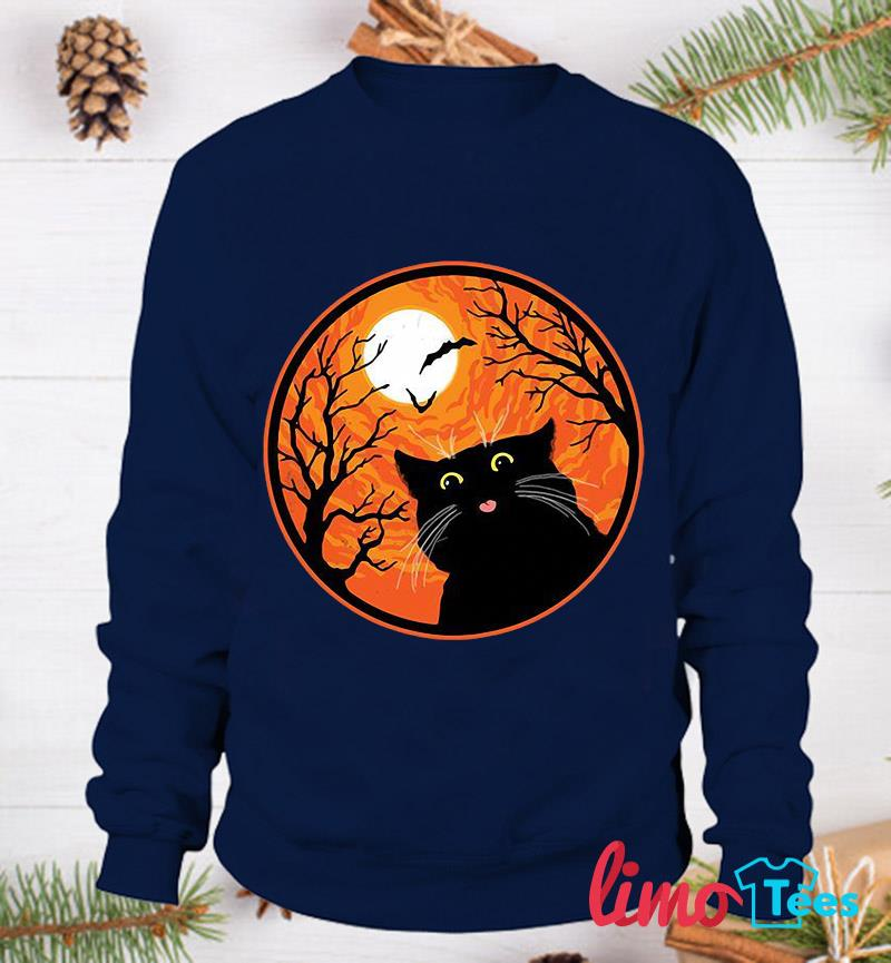 Black Cat blood moon Halloween t-s sweatshirt