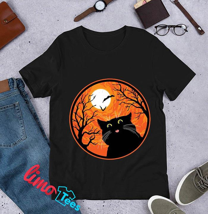 Black Cat blood moon Halloween t-s unisex